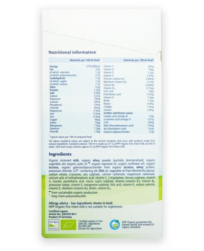 Hipp Combiotic stage 1 UK ingredients